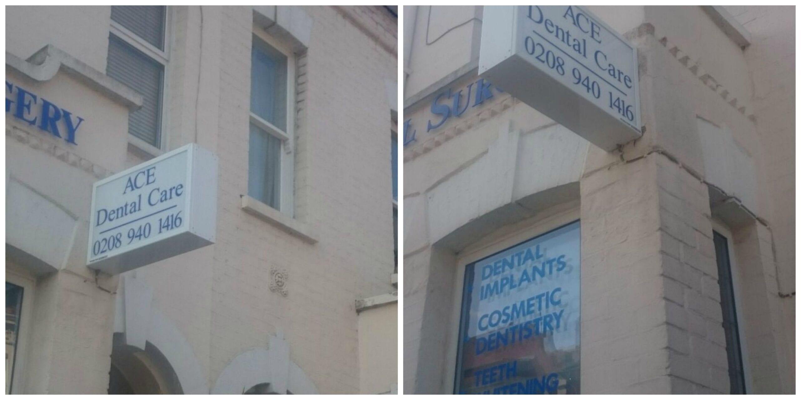 ACE Dental Surgery Richmond Projecting Lightbox Flat Cut Letters
