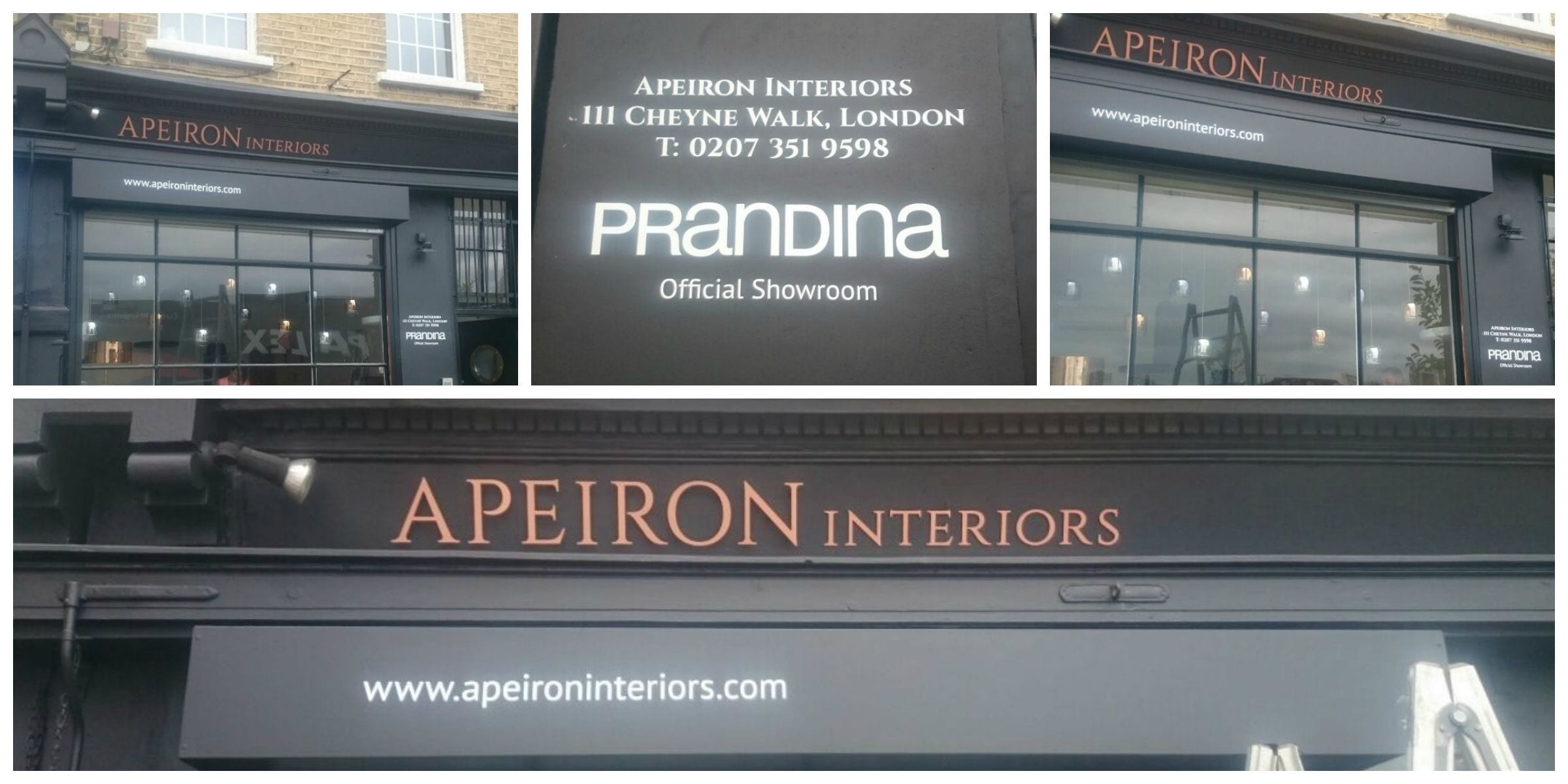 Apeiron Interiors Central South West flat cut letters