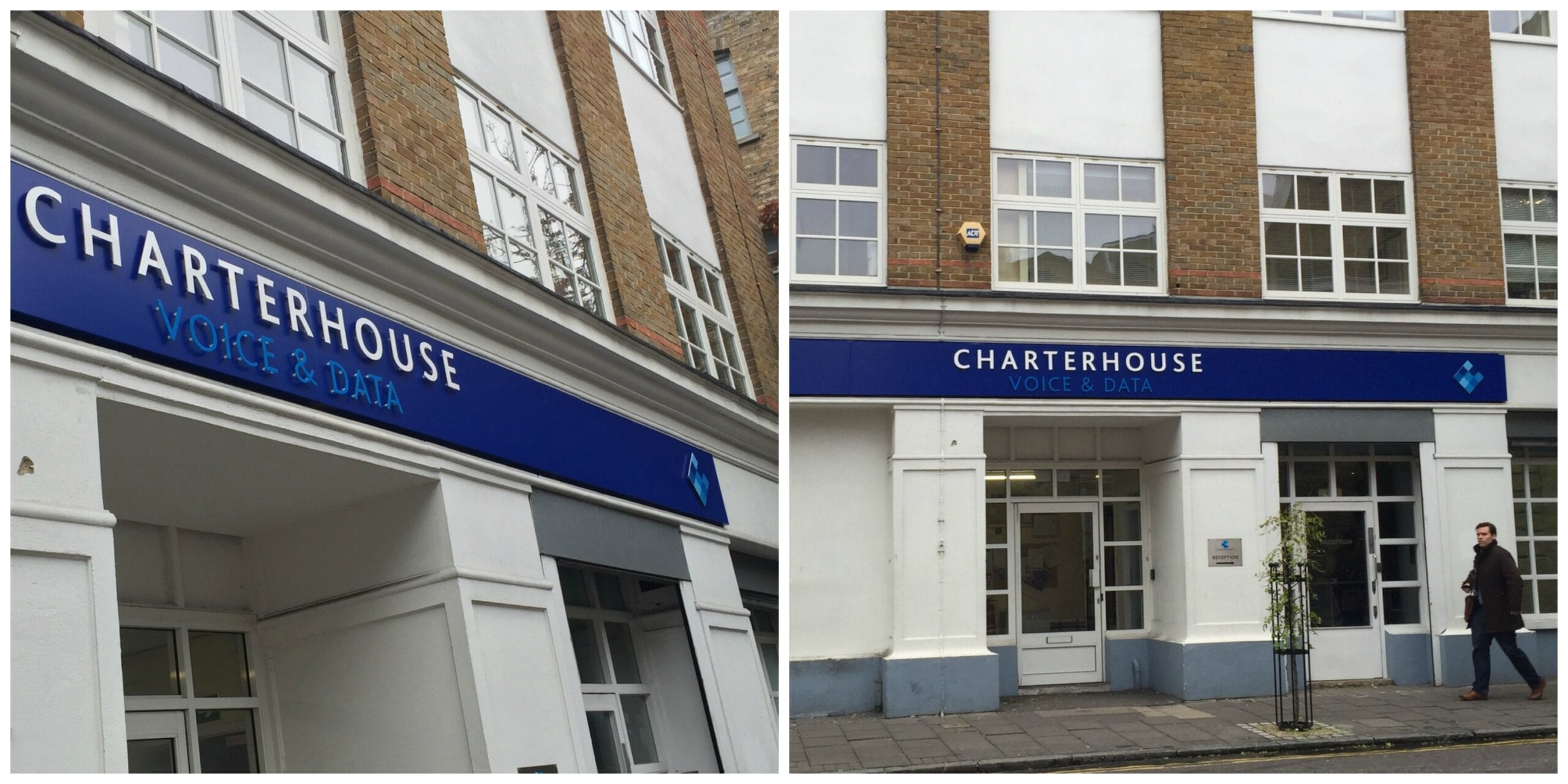 Charterhouse Voice and Data Shoreditch flat cut letters deluxe fascia