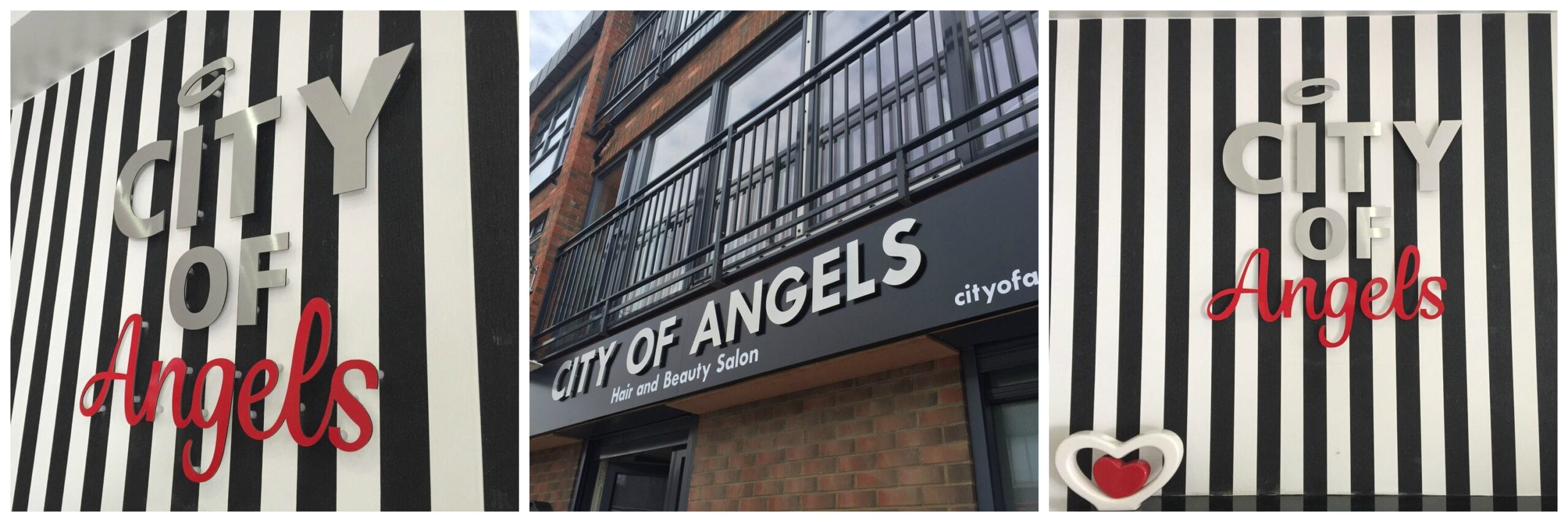 City of Angels West Ham flat cut letters hanging projecting sign