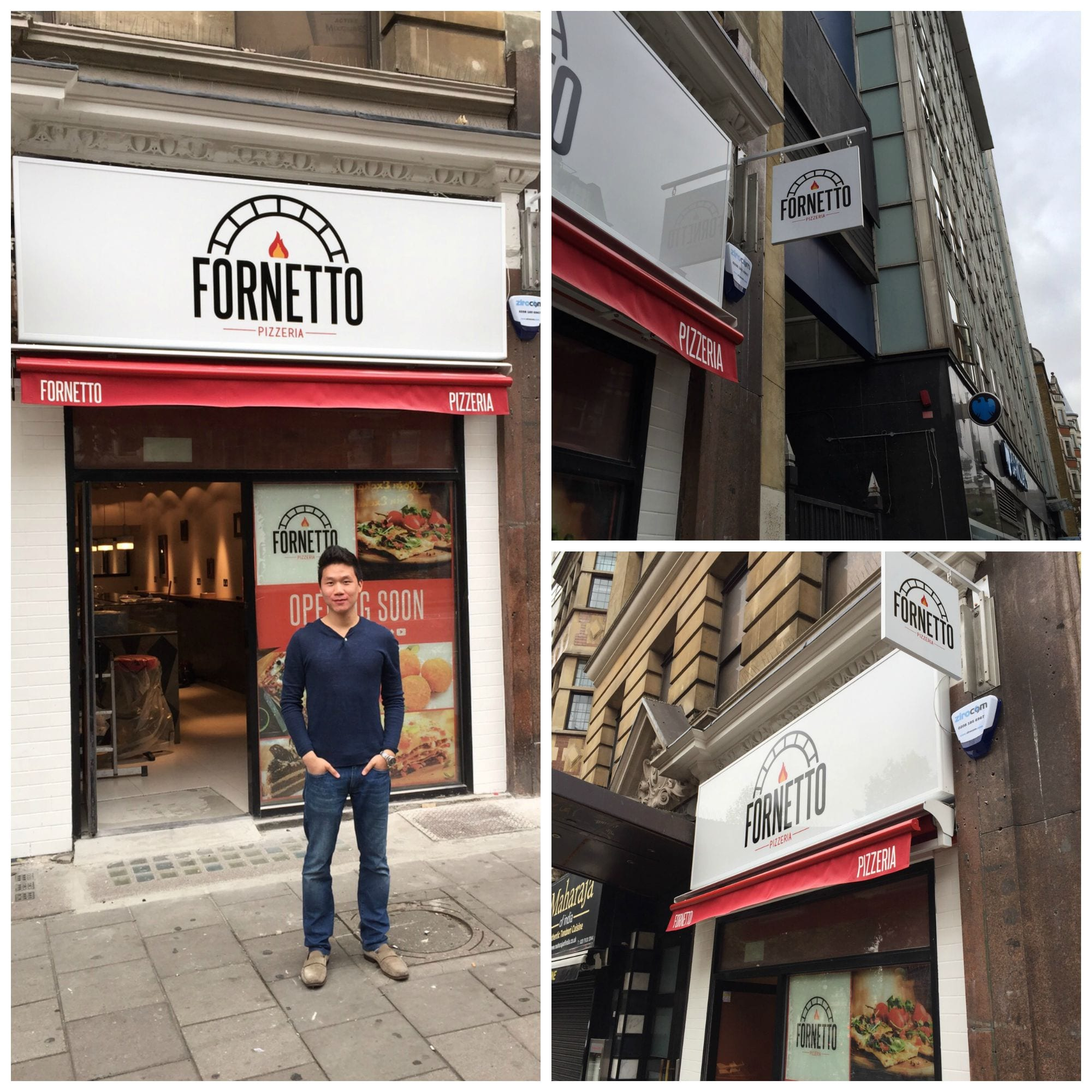 Fornetto restaurant Charing Cross Road Central South West illuminated LED fascia sign hanging projecting dibond sign