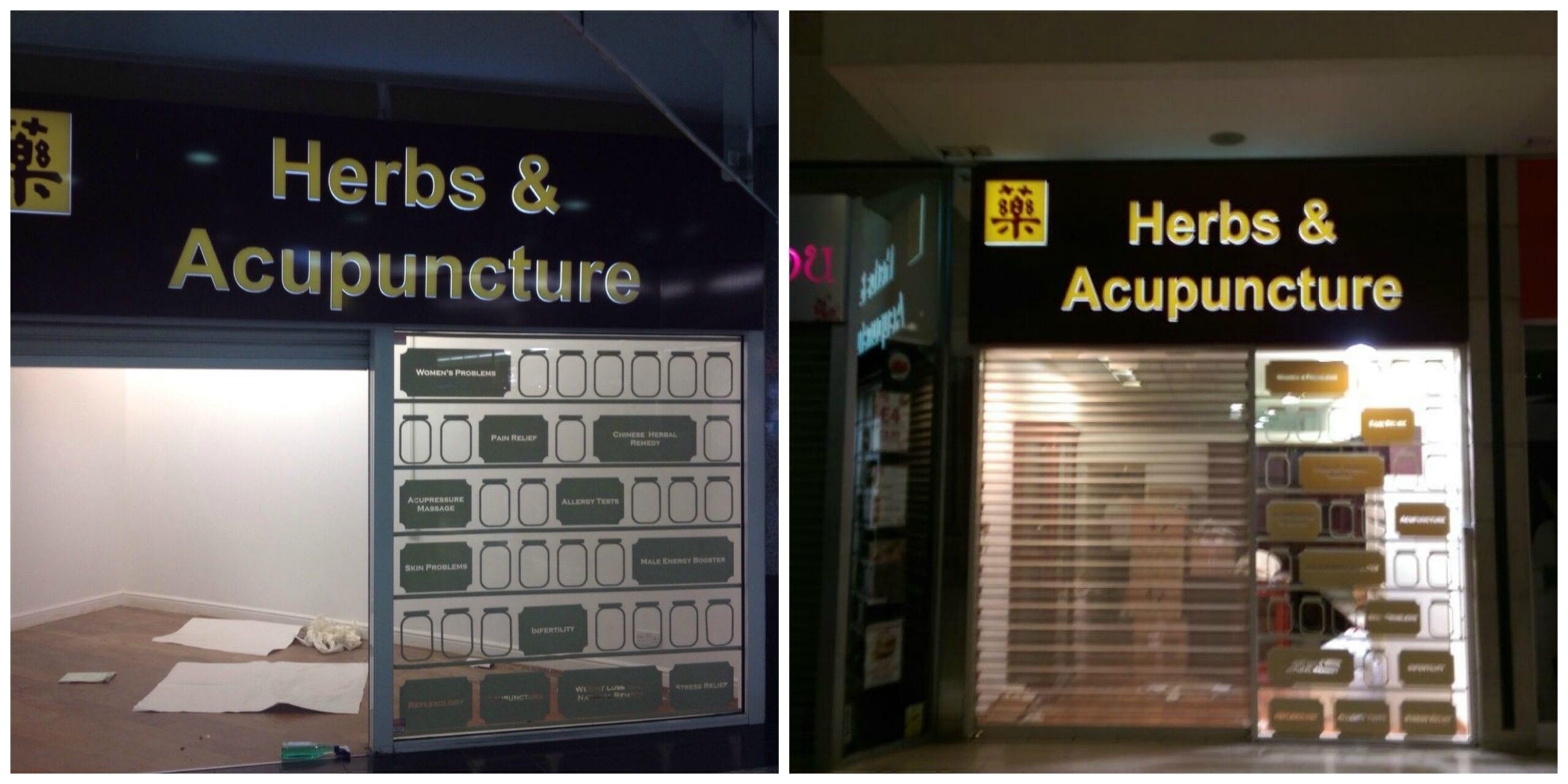 Herbs and acupuncture ealing harrow dibond fascia illuminated LED tray