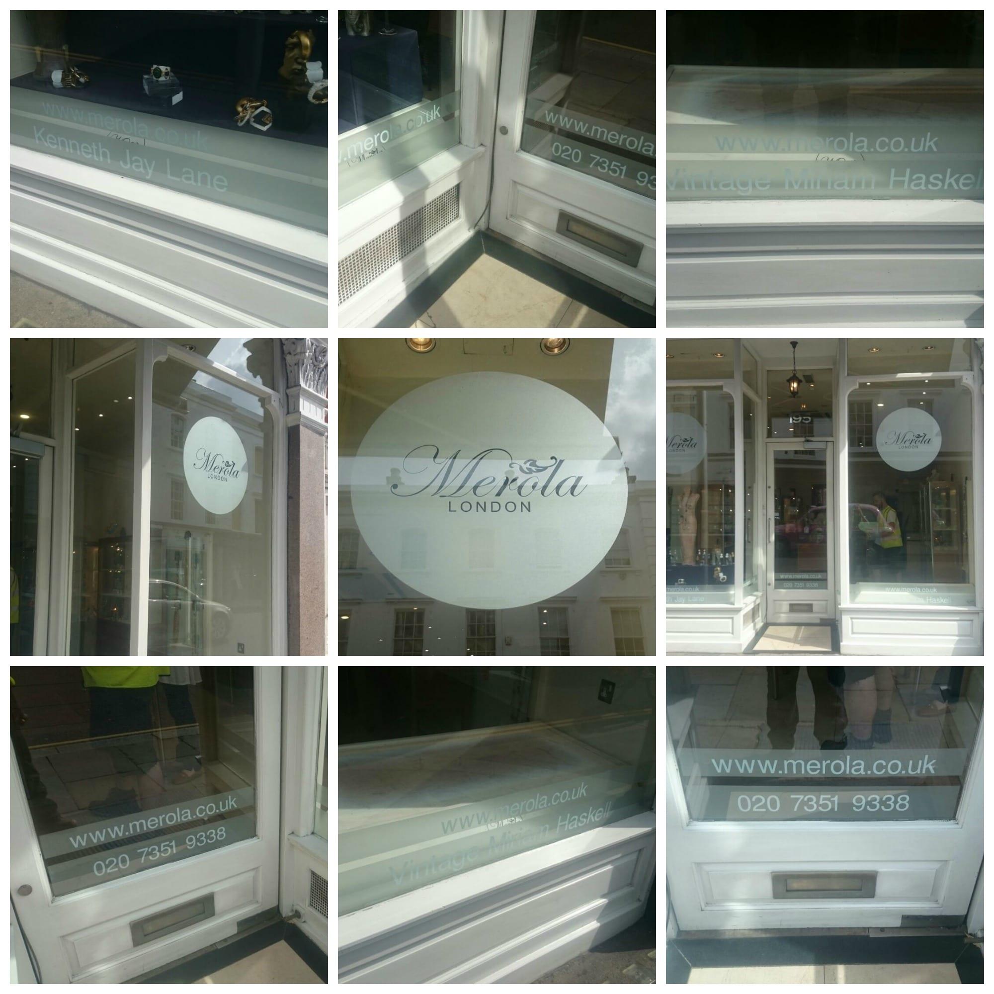 Merola Jewellery Fulham Raod South West vinyl window graphics