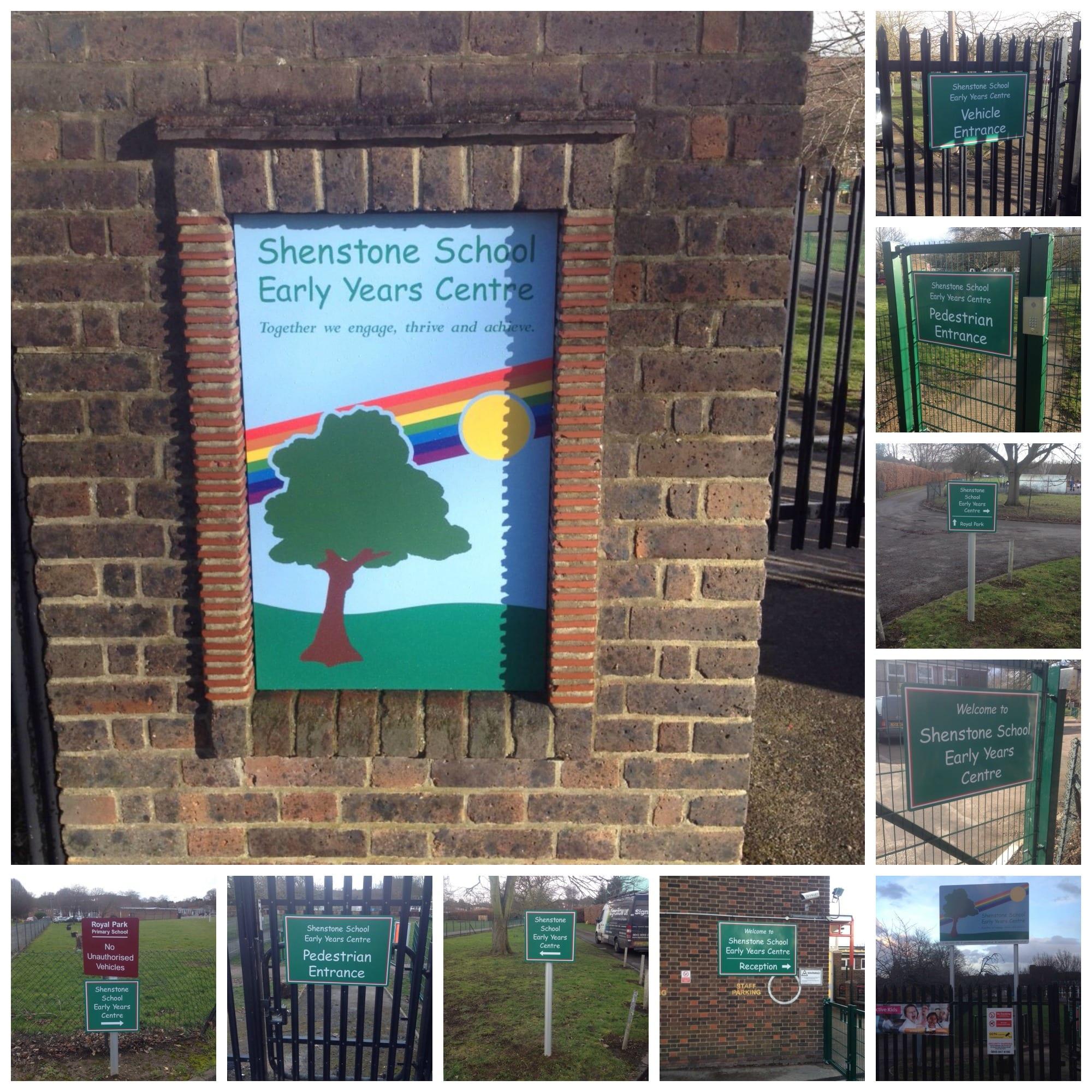 Shenstone School Dartford post and panel dibond panels external signs