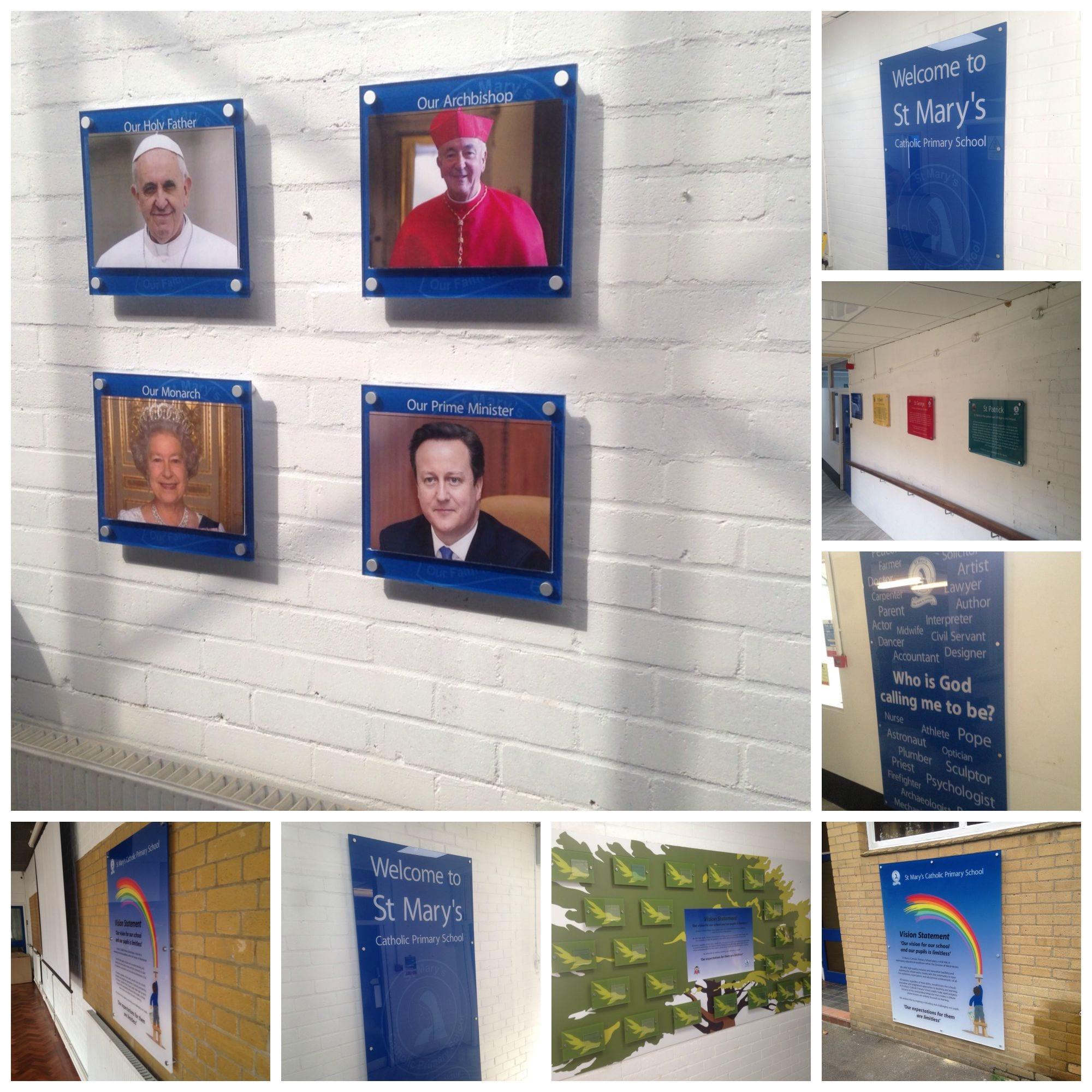 St Mary's Catholic Primary School KIlburn office prints wall signs