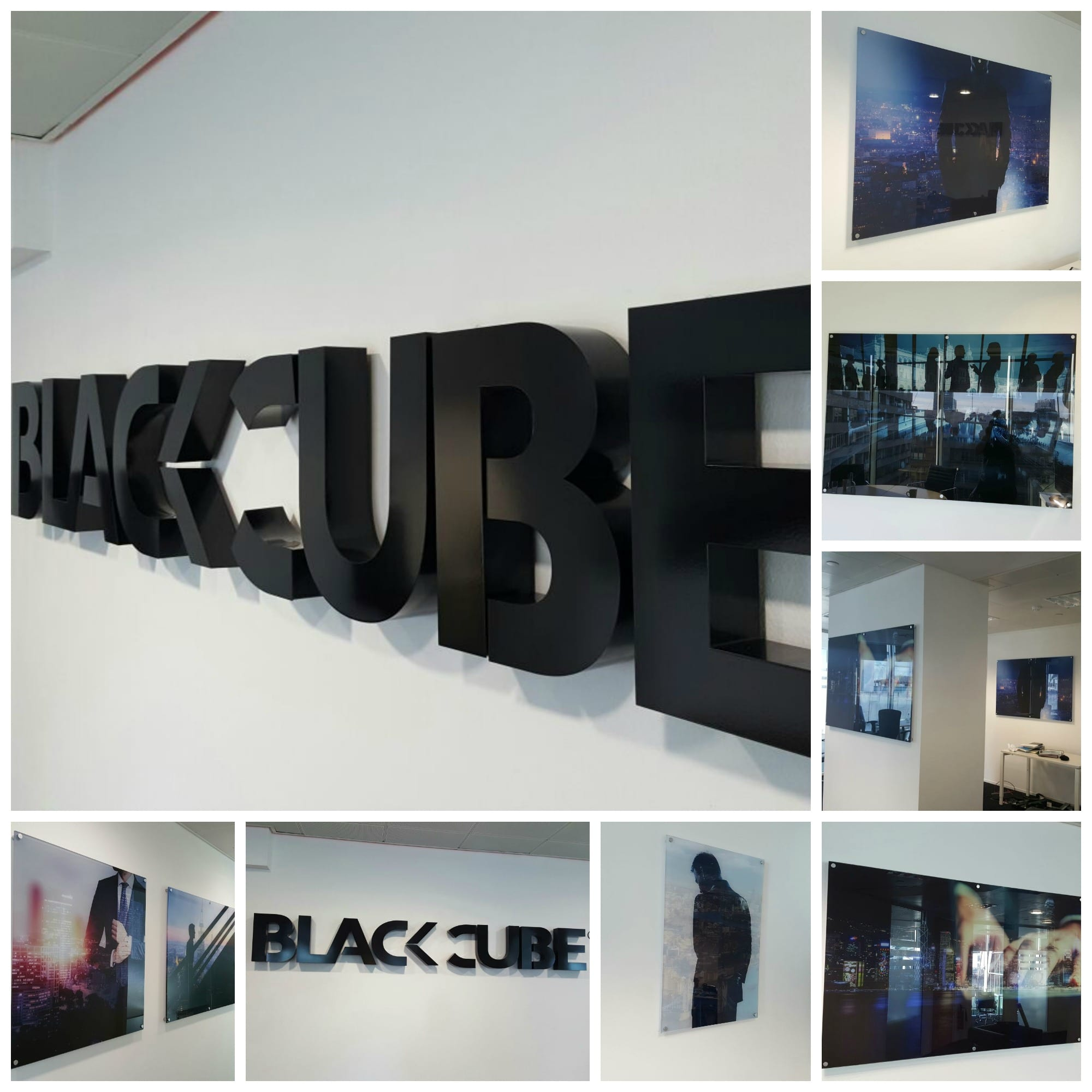 Black Cube, built up letters, office print